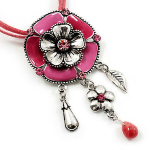 Bright-Pink-Enamel-Flower-Pendant-With-Faux-Suede-Cord-Necklace-Silver-Tone