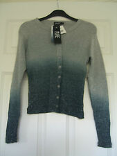NEW PURE designer grey & silver sparkle buttoned long sleeved top - L Large