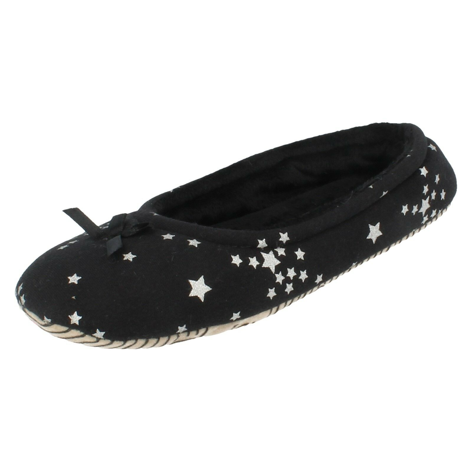 Ladies X2R102 Black Star pattern Slippers with Bow Detail By Spot On £6.99