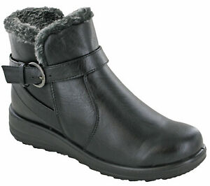 WOMENS-ANKLE-BOOTS-WEDGE-GUSSET-SIDE-ZIP-CUSHION-WALK-SOFT-COMFORT-WORK-SHOES