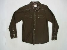 Wrangler Womens Size M Long Sleeve Pearl Snap Button Up Shirt Brown