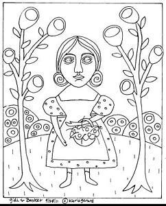 RUG-HOOKING-CRAFT-PAPER-PATTERN-Girl-and-Basket-FOLK-ART-PRIM-Karla-Gerard