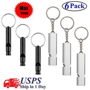 6Pack-Survival-Whistle-Aluminum-Outdoor-Camping-Sports-Training-Emergency-Tools