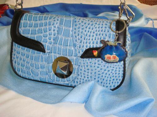 a Pair Set 2 Pieces,Blue Genuine Leather Mini Purse Shape Key-chain//bag-charm