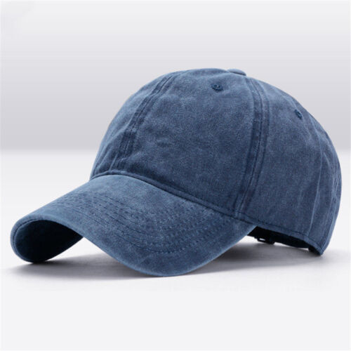 Men Plain Washed Cap Style Cotton Adjustable Baseball Cap Blank Solid Hat Modern