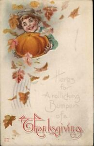 Antique-Postcard-034-Rollicking-Bumper-of-a-Thanksgiving-034-NASH-Boy-Pumpkin-Emb-1914
