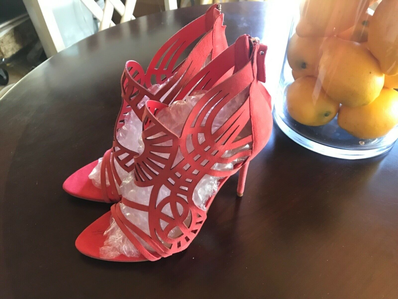 Super Sexy Zara high heel leather shoes coral US size 9, EU 40