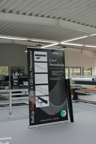 Druck//Tasche optional mit 2 LED-Lampen RollUp Banner Display 120x200cm inkl