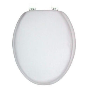 Elongated Soft Padded Vinyl Toilet Seat White Ebay