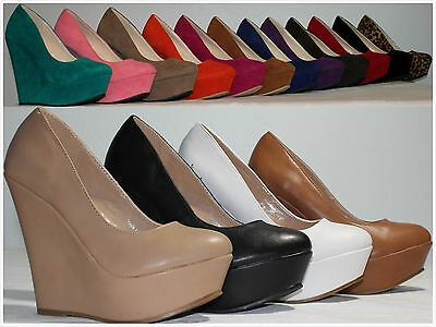 Brand New Women's Fashion Round Toe High Heel Platform Wedge Pumps Shoes