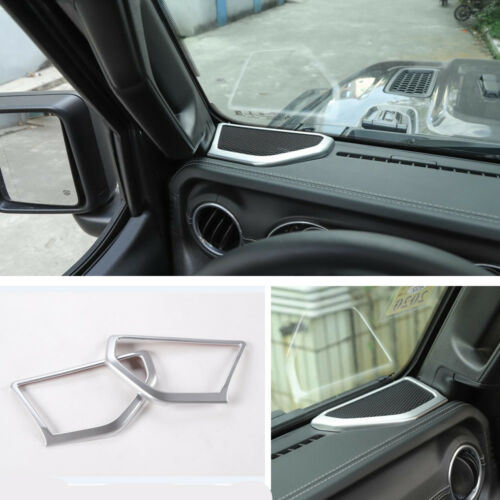 2PCS Silver ABS Interior Front Door Speaker Cover Trim For Jeep Wrangler JL 2018