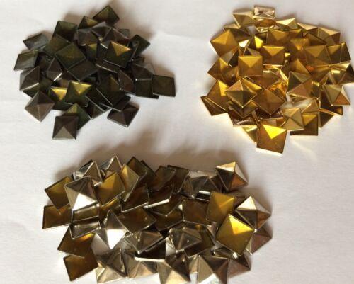 John Lewis Hot Fix Tachuelas Conos pirámides oro plata bronce de cañón 8//9 mm x50 Paquete