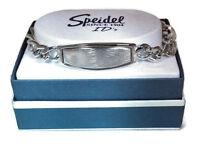 Id Bracelet Mens Personalized Silver Oval Speidel Heavy Chain Custom Engraved
