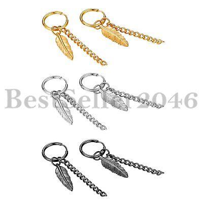 Leaf long Drop Pair Stainless Steel Hoop Huggie Earrings