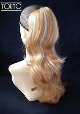 Blonde mix Wavy Ponytail Claw Clip In On Drawstring Hair Piece P315-27/613
