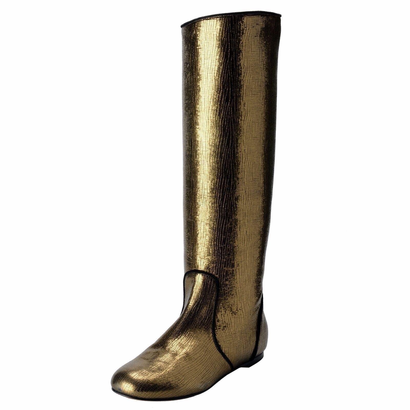 Giuseppe Zanotti Design Damen Leder GelbGolden Grün Flach Stiefel Schuhe US 6 It