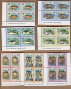 1981-Tuvalu-Fish-Official-SG-01-19-MUH-Imprint-Block-Four-Stamps-Wholesale