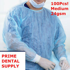 100 Pcs Isolation Gown Medical Dental Blue With Knit Cuff Medium 100pcscase