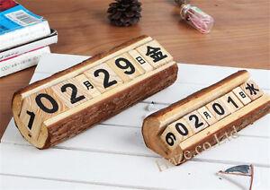 Image Is Loading Vintage Wood Block Perpetual Calendar Reusable Wooden Desktop