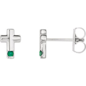 9e1df683a Image is loading Chatham-Created-Emerald-Cross-Earrings-In-14K-White-