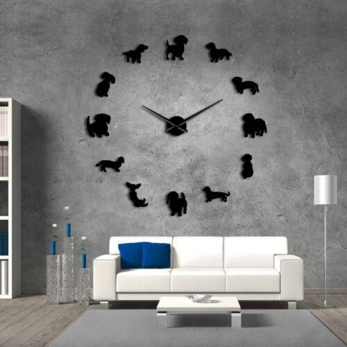 Horloge Murale Miroir Chien Décoration maison moderne 3d À faire soi-même Autocollant teckel Surface Design