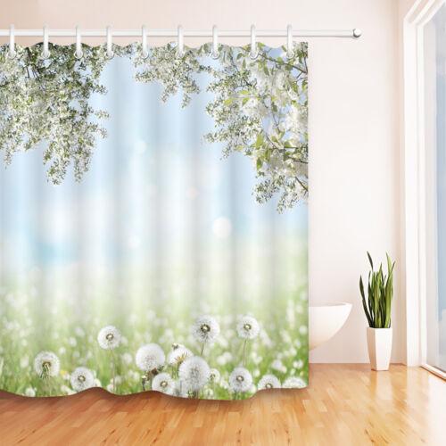 "Spring Dandelion Nature Scenic Shower Curtain Bathroom Waterproof Fabric 72X72/"""