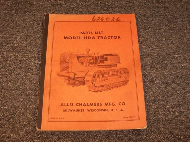 Allis Chalmers Hd6 Crawler Parts Manual Ebay