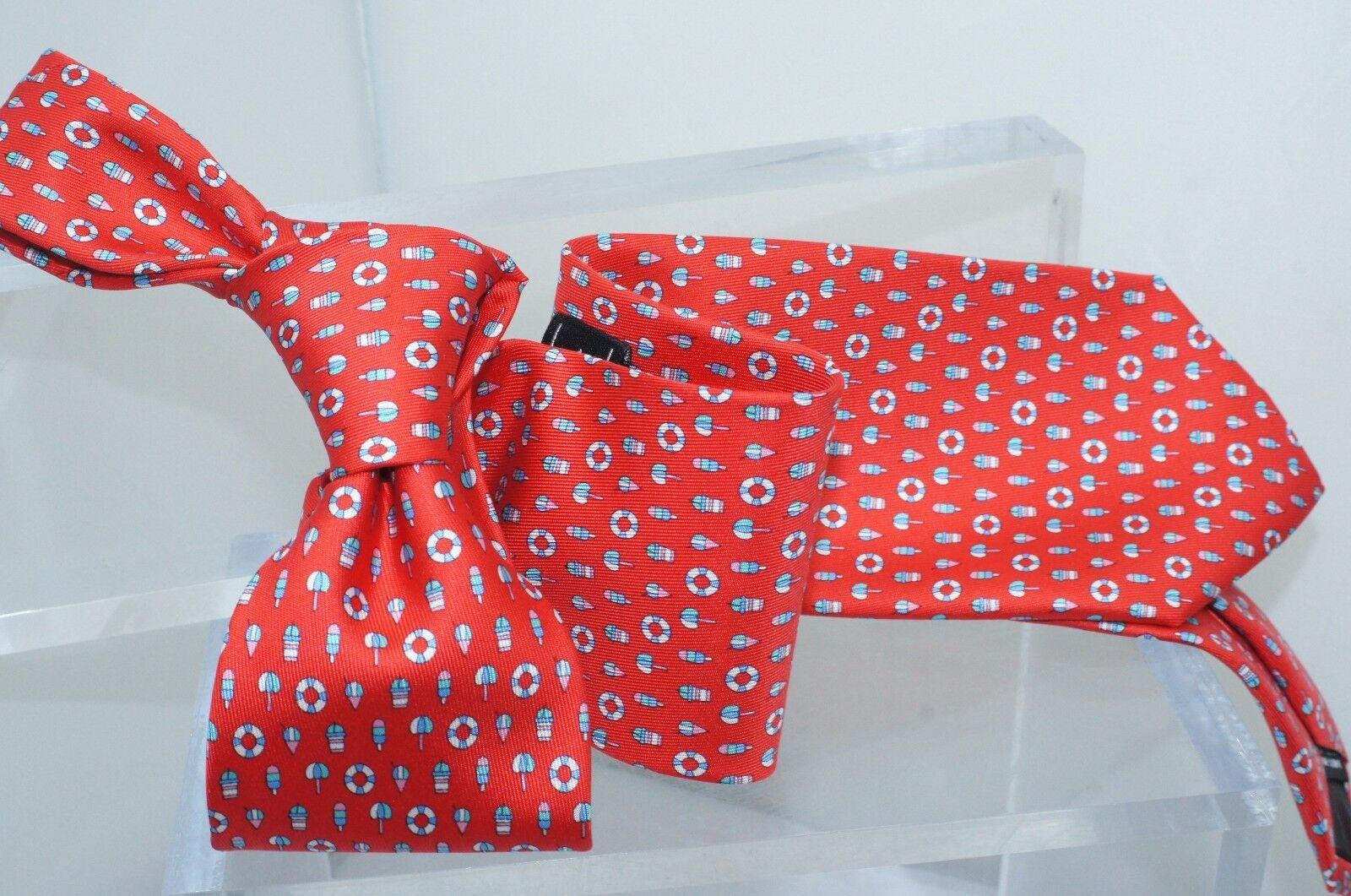 bb032e488561 Salvatore Ferragamo Mens Tie Red Beach Logo 100 Silk Neckwear Accessories  for sale online | eBay