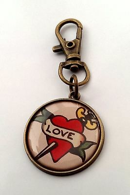 Love Heart Keyring Rockabilly Style Gift Woman New