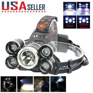 50000LUMENS Camping Headlamp 5x XM-L LED T6 Rechargeable Headlight Flashlight US