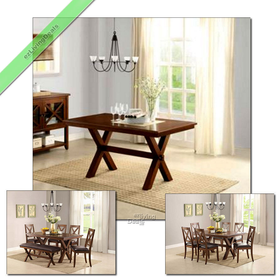 1 Pc Kitchen And Dining Room Table Maddox Crossing Wood Tables Country Furniture Ebay