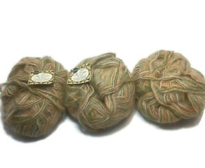 Vintage-Sears-Tri-Color-Green-Peach-Off-White-Mohair-Blend-Yarn-3-Skeins