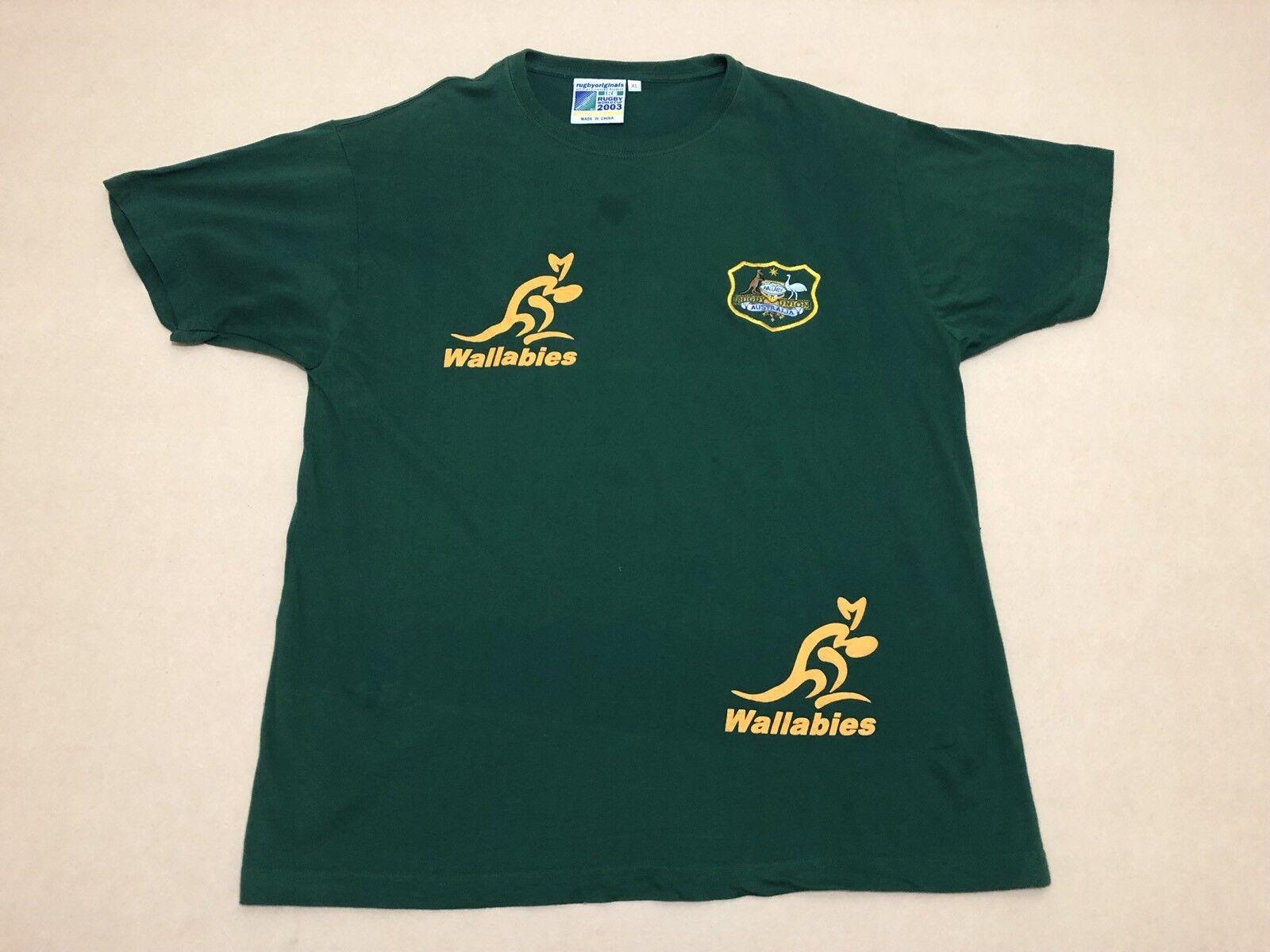 d3b3ac5af51e RUGBYORIGINALS AUSTRALIA WALLABIES SHIRT MENS XL IRB RUGBY WORLD CUP 2003  SZ duvoxe3851-Shirts