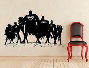 Superheroes Wall Decal Batman Superman Flash Vinyl Sticker Decor Mural 92z