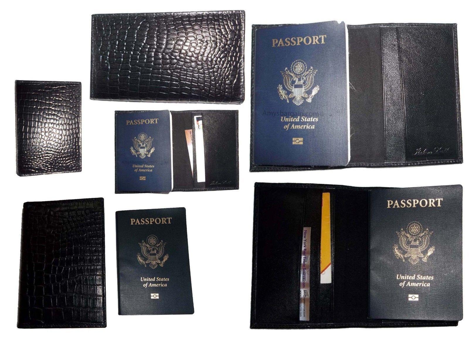 6 New Crocodile Imprimé Cuir Passport Portefeuille Etui Crédit Atm Carte Support