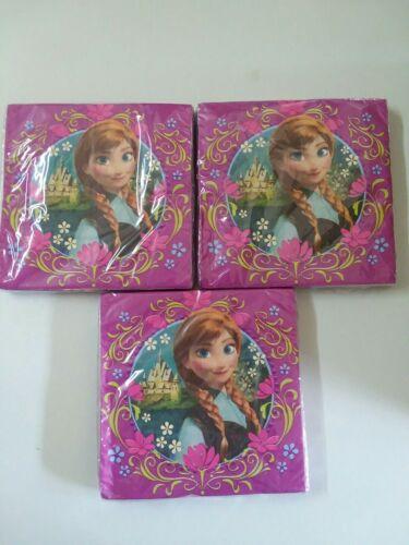 """NEW  Approx 12.75/"""" square 16 pieces Details about  /Disney Frozen Anna Paper Napkins 1 pkg"""