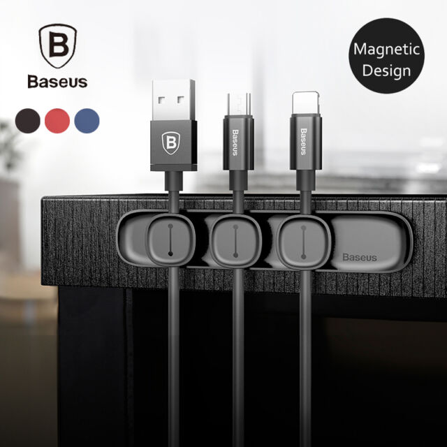 BASEUS Magnetic Cable Clip Organizer Wire Cord Management Winder ...