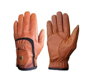 Ladies Horse Riding Gloves Genuine Leather High Quality Brown