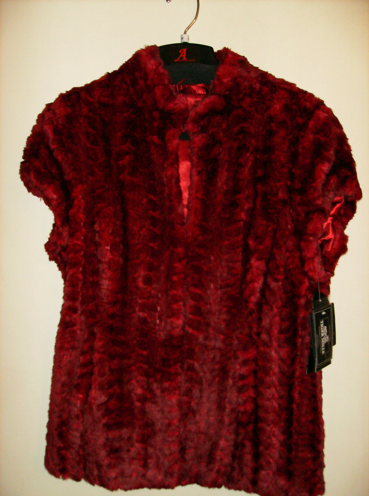 NEW RUBY RED Terry Lewis Classic Luxuries Faux Fur Vest Size M Deluxe SALE NWT