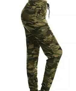 Leggings Depot Women's Green Camouflage High Waist Jogger Cuffed Track Pants M