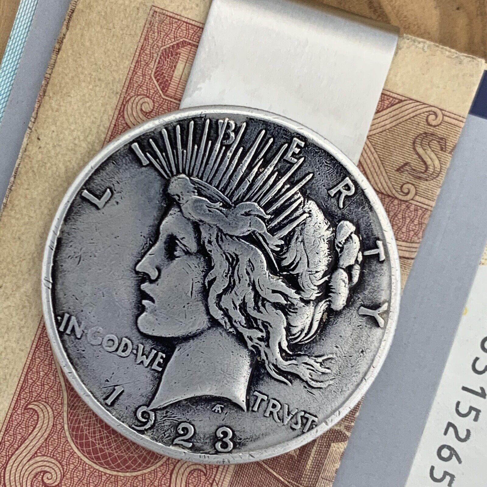 New Handmade Credit Card Money Clip Wallet Silver Peace Dollar Antique Coin