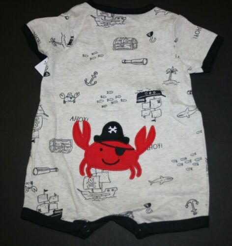 New Carter/'s Boys 1 Piece Pirate Crab Applique Romper Outfit NWT 3 6 9m 12m 18m