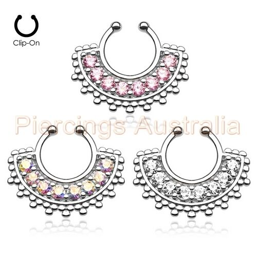 Gem Clip On Nose Septum Hanger Ring Non Piercing Body Jewellery