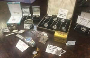 Antique-Silver-Items-Napkin-Rings-Silver-Spoons-Medals-Earrings-Pendants