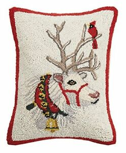 Mary Lake Thompson Reindeer With Cardinal Hook Pillow