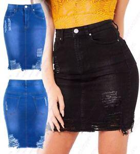 Womens-Stretch-Denim-Skirt-Ladies-Pencil-Ripped-skirts-NEW-Size-8-10-12-14-Blue