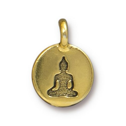 TierraCast Buddha Charm T304 Antiqued Gold Plated Lead Free Pewter