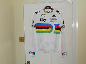 Team-GB-SKY-UCI-world-champion-stripes-cycling-bike-LS-jersey-Adidas-shirt-top
