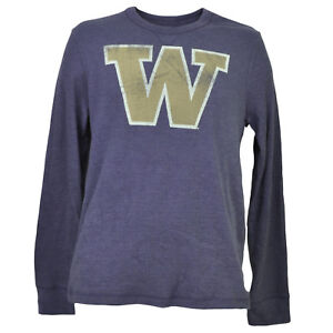 NCAA-Washington-Huskies-Mens-Adult-Thermal-Pullover-Shirt-Long-Sleeve-Purple