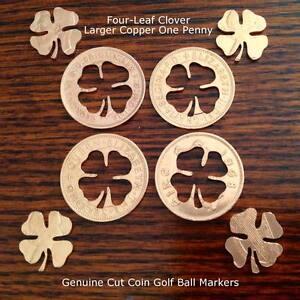 Cut-Coin-Golf-Ball-Marker-Lucky-Four-Leaf-Clover-Good-Luck-Golfers-AU-NZ-Penny
